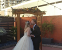 This lovely couple finalized their wedding ceremony with a beautiful kiss.
